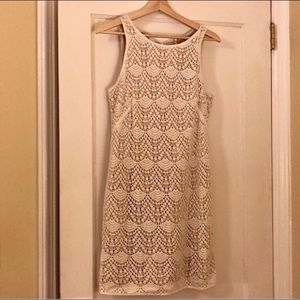 Loft Crochet lace shift dress, cream size 2